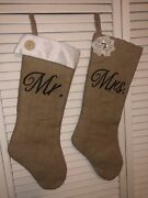 """Mr. And Mrs. Burlap Christmas Stocking Nwot 24"""" Overall"""