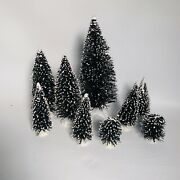 9 Lemax Christmas Village Accessories Frosted Bottle Brush Trees Lot 2-8