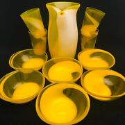 Art Glass Mcm Yellow And White Pitcher Beverage Snack 11 Piece Set Applied Handle
