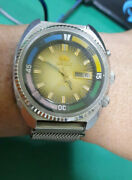 Vintage Orient Sea King Diver 80s Working Well Two Straps Leather Magnetized