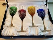 Faberge Odessa Multi Color Cut To Clear 4 Wine/water Glasses Hocks Goblets