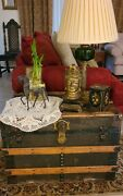 1880s Antique Steamer Flat Toptrunk Coffee Table Vintage Metal Canvas Brass...
