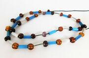 Old African Trade Beads Venetian Dogon Euro Wound Glass Gooseberry Russian Blue