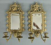 Pair Antique French Bronze Figure Justice Allegory Mirror Candle Wall Sconce 19c