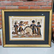 Authentic Egyptian Painting On Papyrus Signed Ultra Clear Glass Custom Framed