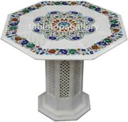 36 Multi Stone Floral Inlay Marble Dining Table Tops With 18 Grill Stand W469