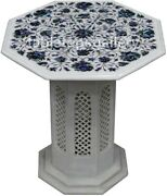 18 Paua Shell Floral Inlay Marble Coffee Table Top With 16 Lattice Stand W471