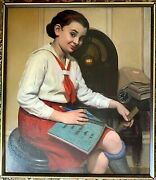 1940and039s American Realist Portrait Little Ms Perfect Manner Of Norman Rockwell