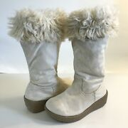 Gymboree Boots Polar Pink Size 10 Sparkle Glitter Gold Faux Fur Tall Wedge Cream