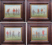 Golfers 4 Antique Miniature Golf Sport Paintings By William Rowland Uk