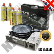 Camping Gas Stove Cooker Burner Fishing Bivvy With 4 Butane And Kettle Survival