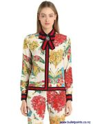 Ribbon Detail Floral Print Silk Pajamas Set With Grosgrain Bow Brooch-new
