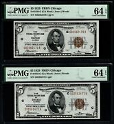 Lot Of Five Consecutive 1929 5 Chicago Frbn All Pmg 64 Epq Fr.1850-g