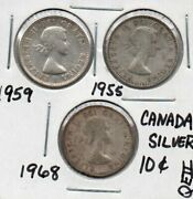 Canada Silver Dime Lot 1959 And 1955 And 1968 Qeii As Pictured