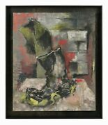 1950s Henning Oil Painting Mid Century Modern German Expressionism Abstract