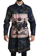 Dolce And Gabbana Jacket Trenchcoat Silk Blue Royal Crown It44 /us34 /xs Rrp 3900