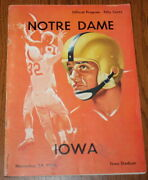 November 24 1956 Iowa Hawkeyes Vs. Notre Dame Fighting Irish Football Program