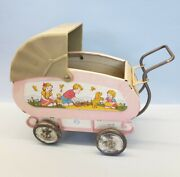 Vintage Ohio Art Co Lithograph Tin Baby Buggy Carriage Toy