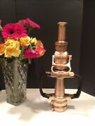 Vintage Akron Brass 21/2 In Play Pipe, Leather Hd. Akro Ball Shut Off And Nozzle