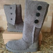 Ugg Classic Cardy Grey Gray Knit Cuff Tall Boots Size Us 7 Womens
