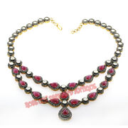 Antique Rose Cut Diamond 10.42ct Polki Silver 925 Ruby Engagement Party Necklace