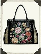 Victorian Trading Co Midnight Garden Tote Hand Beaded Tapestry Purse