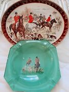 Vintage Pair Of Fine Bone China English Wall Plate Decor With Fox Hunting Scenes