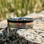Meteorite Ring With 14k Rose Gold And Dinosaur Fossil Inlay Custom Made