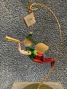 De Carlini Christmas Ornaments Boy Angel With Trumpet And Heart Accents - Retro