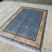 Yilong 5and039x7and039 Blue All Over Silk Area Rugs Hand Knotted Carpets Handmade 124a