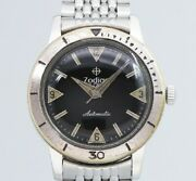 Zodiac Seawolf Black Mirror Dial Automatic Winding Vintage Watch 1960and039s