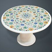 24 Marble Coffee Table Top With 15 Stand Semi Precious Floral Inlay Decor W587