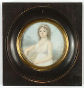 Portrait Of A Bride At A Fortress Bastion Period Of Directory Miniature