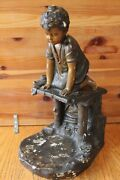 Antique Chalkware Fishbowl Stand Boy Over Fish Bowl Plaster Statue Vintage 18.5