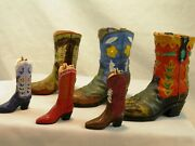 Lot Of 6 Miniature Cowboy Boots Western Collectibles 5 And 3 Yee Haw Western