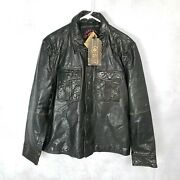 New Marc Moto Andrew Marc Menand039s Xl Black Button Front Genuine Leather Jacket