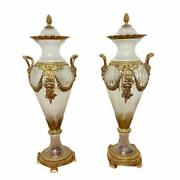 Vintage Pair Of Clear Italian Cut Crystal Vases With Gilt Bronze Mounts
