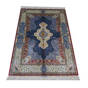 Yilong 4and039x6and039 Blue Turkish Silk Rugs Handmade House Carpets Hand Knotted 434a