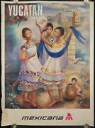 Regina Raull / Yucatan Mexico Vintage Airline Poster Signed 1968