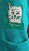 Vtg 40s Rockabilly Letterman Wool Honor Made Kitsch Novelty Cat Patch Sweater S