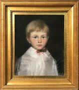 Early 20th Century Impressive Charcoal Painting Of Young Boy With Bow Tie