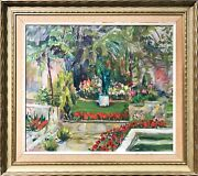 Mid Century Impressionistic Garden Scene With Flowers And Fountain Oil Painting