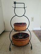 Longaberger 2000 Wrought Iron Snowman W/ 2 Frosty Baskets - Liners And Protectors