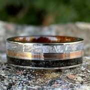 Meteorite Ring With 14k Rose Gold And Dinosaur Fossil Inlay Hardwood Sleeve