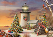 Winter Lighthouse Decorated Evergreen Trees Cardinal Box Of 14 Christmas Cards