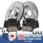 Front Black Brake Calipers And Rotors + Pads For 2004 Ford F-150 Pickup 6 Lug
