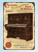 Indoor Outdoor Vintage Reproductions Cornish Piano Ad Late 1800s Metal Tin Sign