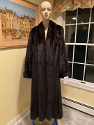Plus Size 1x-2x 20w-22w Full Length 52 Natural Female Dark Brown Mink Fur Coat