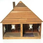 Cabin Cottage Wood Doll House Large Hand Made W/lights