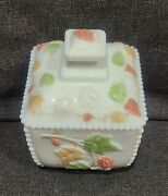 Westmoreland Painted Milk Glass Beaded Paneled Grapes Footed Covered Sugar Bowl